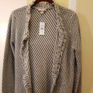 Loft NWT women's  cardigan fringed knit size M